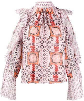 Temperley London Abstract Pattern Silk Blouse