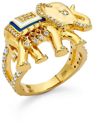 BUDDHA MAMA 20kt Yellow Gold Elephant Enamel And Diamond Ring