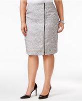 Kasper Plus Size Zipper-Trim Tweed Pencil Skirt