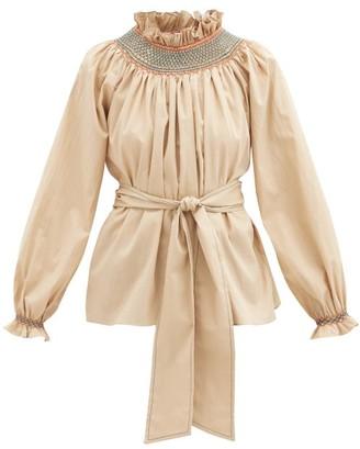 Loretta Caponi Maria Smocked Cotton-poplin Blouse - Camel