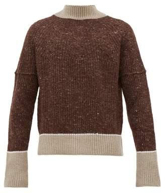 Jacquemus Pierre Deconstructed Merino Wool Sweater - Mens - Brown