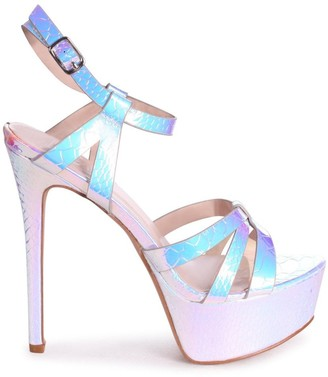Linzi ELLA - Silver Mermaid Heavy Stiletto Platform With Gathered Front Straps