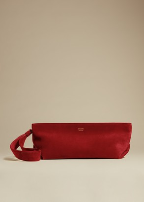KHAITE The Alma Wristlet in Deep Rose Suede