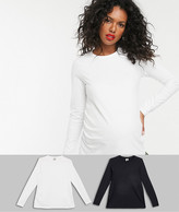 Asos DESIGN Maternity ultimate organic cotton long sleeve crew neck t-shirt in 2 pack SAVE