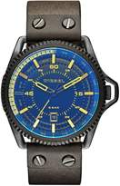 Diesel Rollcage Black Dial and Black IP With Green Leather Strap Mens Watch