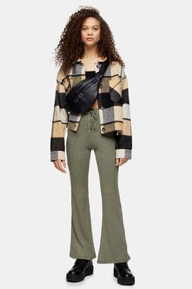 Topshop Womens Petite Khaki Lace Up Flare Trousers - Khaki