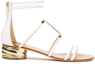 Casadei Metallic-trimmed Patent-leather Sandals