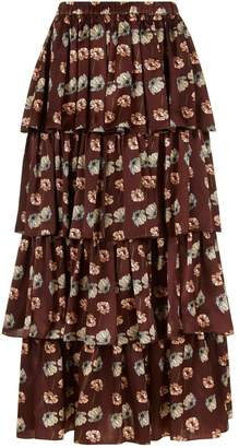 Phoebe Grace Charlie Frill Tiered Midaxi Skirt in Burgundy Poppy Print