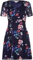 Yumi Navy Floral Print Lace Detail Dress