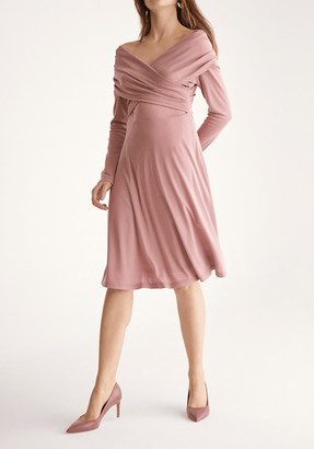 Paisie Skater Dress with Cross Wrap Shoulders in Blush