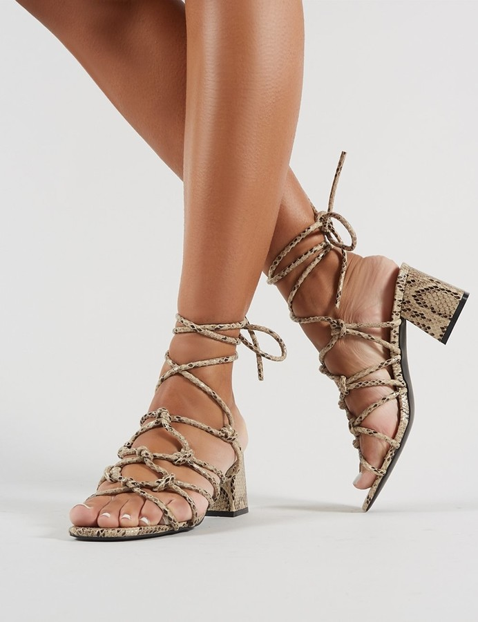 c5ccfe898ec Freya Knotted Strappy Block Heeled Sandals in Natural Snakeskin