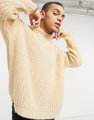 ASOS DESIGN oversized textured fisherman rib sweater in oatmeal