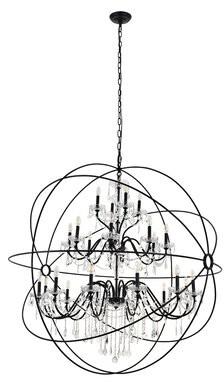 House Of Hamptonâ® Clifton 24 - Light Unique / Statement Globe Chandelier House of HamptonA Finish: Black