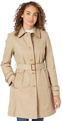 Lauren Ralph Lauren Single Breasted Rain Coat with Faux Leather Trim (Dark Navy 1) Women's Coat