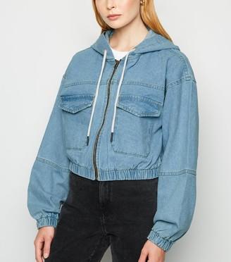 New Look Denim Hooded Bomber Jacket