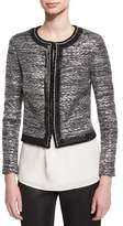 St. John Painted Metallic Embellished-Trim Jacket, Caviar/Silver Shimmer Multi