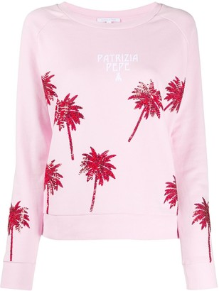 Patrizia Pepe Sequin Palm Tree Sweatshirt