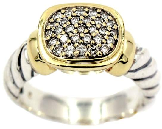 David Yurman 925 Sterling Silver & 18K Yellow Gold with Diamonds Noblesse Ring Size 6