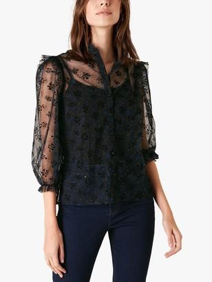 Monsoon Floral Lace Blouse, Black