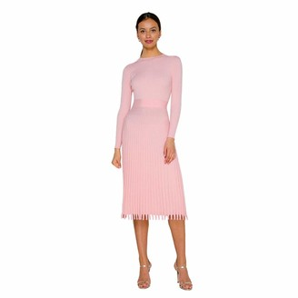 IMEKIS Women's A Line Long Sleeve Crochet Dress Elegant Wedding Cocktail Evening Dress Autumn Winter Knitted Knee Length Pleated Skirt Party Dress Pink M