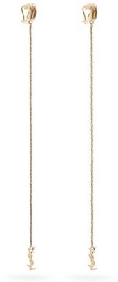 Saint Laurent Monogram Cuff-chain Earrings - Womens - Gold