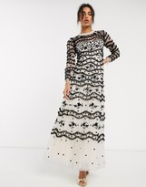 Needle & Thread embroidered contrast maxi dress in black and cream floral