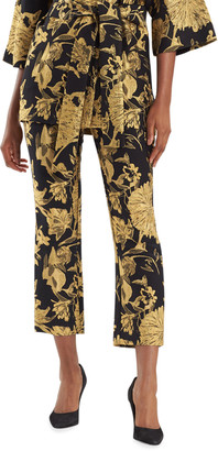 Gold Flower Jacquard Slim Pants