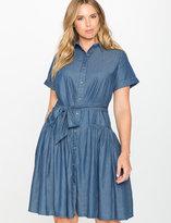 ELOQUII Plus Size Chambray Flounce Shirt Dress