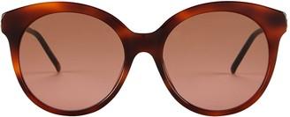 Gucci Vintage Havana Round Cat Eye Sunglasses