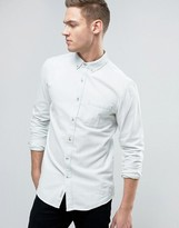 Pull&Bear Regular Fit Denim Shirt In Off White