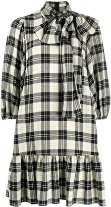 RED Valentino Check-Print Puff-Sleeve Dress
