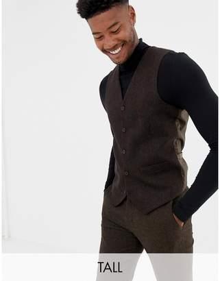 Gianni Feraud Tall slim fit brown donnegal wool blend suit vest