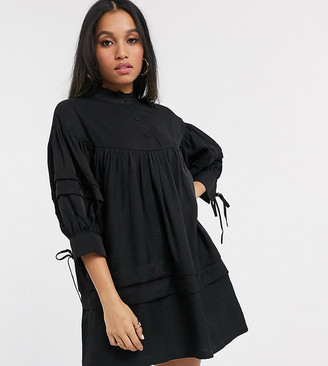 Vero Moda Petite smock dress with high neck in black