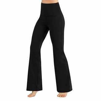 HOOUDO Women High Waist Yoga PantsTummy Control Workout Sport Fitness Gym Baggy Seamless Leggings Ladies Trousers Black