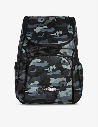 Smiggle Illusion Reflective Access football-print woven backpack