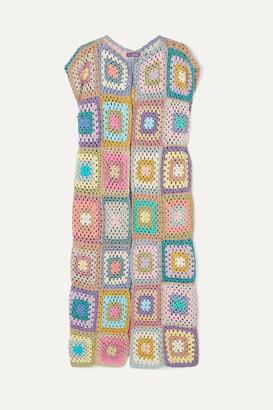 Rose Carmine - Patchwork Metallic Crochet-knit Cardigan - Baby pink