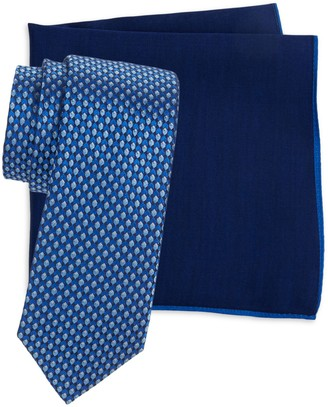 Ted Baker Patterned Tie & Solid Pocket Square Set