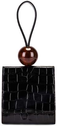 BY FAR Ball Croco Embossed Bag in Black | FWRD