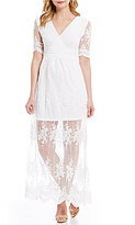 Gianni Bini Dillan V-Neck Short Sleeve Embroidered Lace Dress