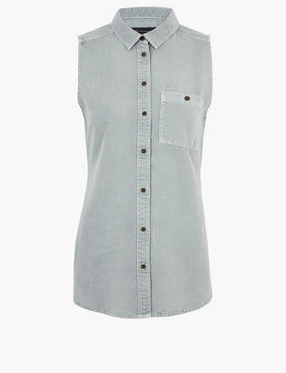 Marks and Spencer Pure Tencel Sleeveless Shirt