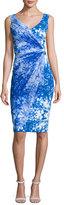La Petite Robe by Chiara Boni Naomi Printed Faux-Wrap Sheath Dress, Blue