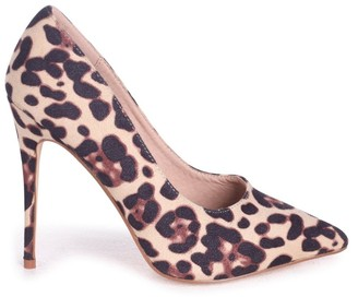 Linzi Aston Natural Leopard Suede Classic Pointed Court Heels
