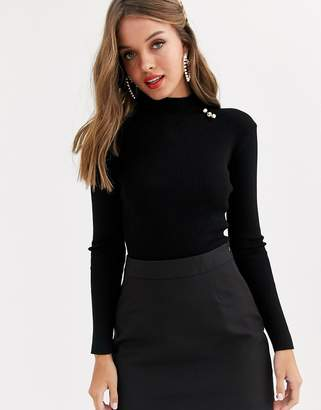 Lipsy knitted jumper with gold button detail in black