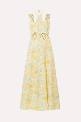 Cult Gaia Sabine Cutout Printed Linen Maxi Dress - Pastel yellow