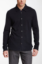 John Varvatos Long Sleeve Full Button Front Jacquard Knit Wool Blend Shirt