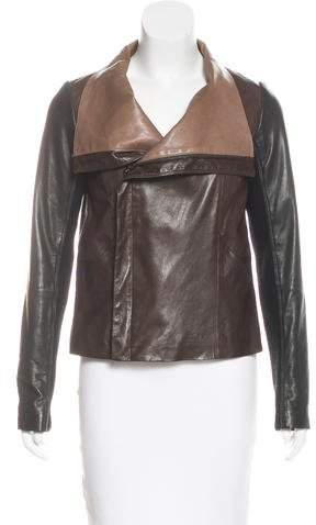 Vince Leather Zip-Front Jacket