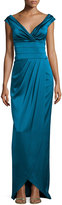 Kay Unger New York Cap-Sleeve Ruched Column Gown, Peacock