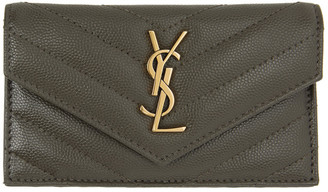Saint Laurent Grey Monogramme Quilted Wallet