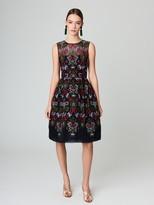 Oscar de la Renta Embroidered Organza Cocktail Dress