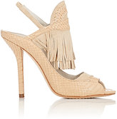 Alice + Olivia Alice & Olivia ALICE & OLIVIA WOMEN'S NADYA LEATHER & SUEDE SLINGBACK SANDALS-NUDE SIZE 6.5